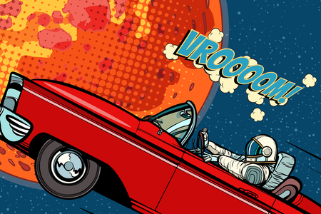 Astronaut in a car over the planet Mars Stock Illustratie