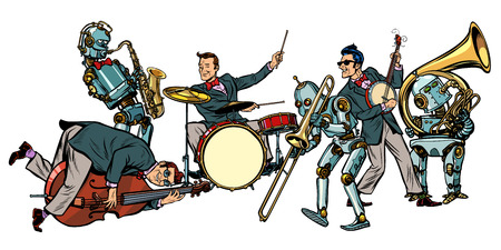 futuristic jazz orchestra of humans and robots, isolated on white background. Pop art retro vector illustration comic cartoon hand drawing Фото со стока - 95144579