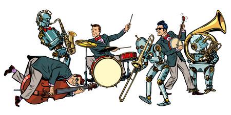 Futuristisch jazzorkest van mensen en robots, geïsoleerd op een witte achtergrond. Popart retro vector illustratie strip cartoon hand tekenen Stockfoto - 95144579