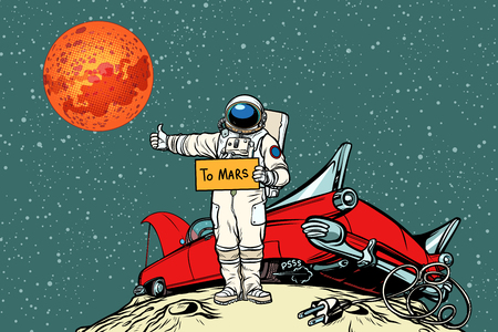 The road to Mars. car broke down in space, astronaut hitchhiker Illustration