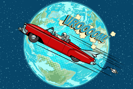 Astronaut in an electric car over the planet Earth Stock Illustratie