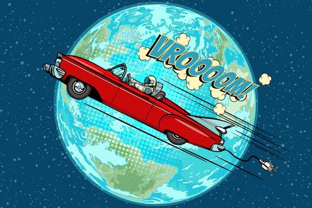 Astronauta w elektrycznym samochodzie nad planetą Ziemią Ilustracje wektorowe