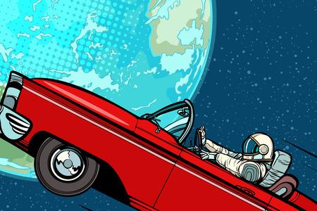 Astronauta w samochodzie nad planetą Ziemią