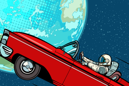 Astronaut in a car over the planet Earth. Pop art retro vector illustration comic cartoon hand drawn vector Stock Photo