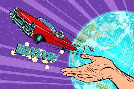 Die Menschheit startet ins Weltraumauto. Gezeichnete Illustration der Retro- Comic-Buch-Vektorkarikatur der Pop-Art Hand Standard-Bild - 95661170