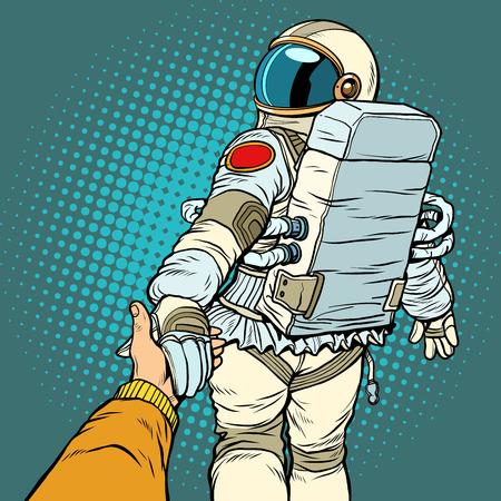 astronaut space travel follow me concept, couple love hand leads. Pop art retro vector illustration comic cartoon vector vintage kitsch drawing Illustration