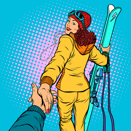 Skier woman, extreme winter sports. follow me concept, couple love hand leads. Pop art retro vector illustration comic cartoon vector vintage kitsch drawing