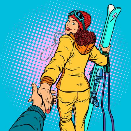 Skieuse, sports d'hiver extrêmes. suivez-moi concept, couple aime la main mène. Illustration vectorielle rétro pop art dessin animé comique vecteur dessin kitsch vintage Vecteurs