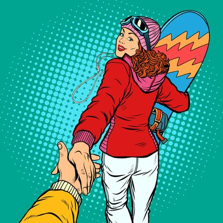 snowboarding woman extreme winter sport. follow me concept, couple love hand leads. Pop art retro vector illustration comic cartoon vector vintage kitsch drawing Vectores