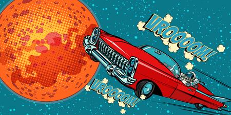 The astronaut driver in car on Mars. Pop art retro vector illustration comic cartoon hand drawn vector