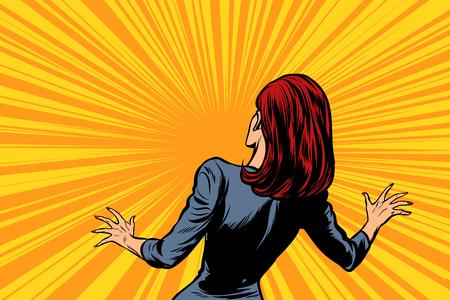 frightened woman back, human reaction. Pop art retro vector illustration comic cartoon figure vintage kitsch