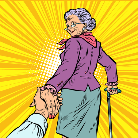 follow me Mature woman Granny leads hand. Pop art retro vector illustration comic cartoon figure vintage kitsch