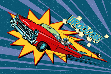Electric car space, high speed. Pop art retro comic book vector cartoon hand drawn illustration 写真素材