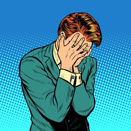 落ち込んだ男。手で閉じた顔。ポップアートレトロ漫画漫画描きベクターイラストキッチュヴィンテージ  イラスト・ベクター素材