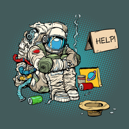 Crowdfunding concept. A poor homeless astronaut asks for money. Pop art retro comic book cartoon drawing vector illustration kitsch vintage.