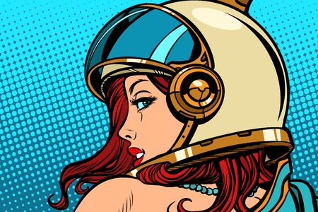 女性宇宙飛行士は肩越しに見ている。ポップアートレトロ漫画漫画描きベクターイラストキッチュヴィンテージ。