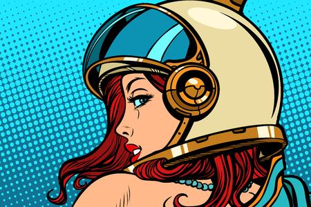 Frauenastronaut, der über ihrer Schulter schaut. Comic-Buch-Karikaturzeichnungsvektorillustrations-Kitschweinlese der Pop-Art Retro.
