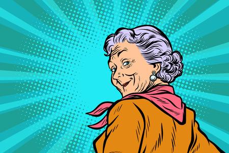 Grand-mère aux cheveux gris un bon coup d'oeil. Pop art rétro illustration vectorielle bande dessinée comique figure vintage kitsch. Vecteurs