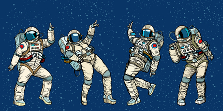 Disco party astronauts dancing men and women. Pop art retro comic book vector cartoon hand drawn illustration 일러스트