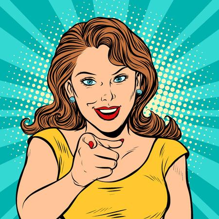 Vrouw wijs vinger naar je gebaar. Popart retro stripboek cartoon tekening vector illustratie kitsch vintage. Vector Illustratie