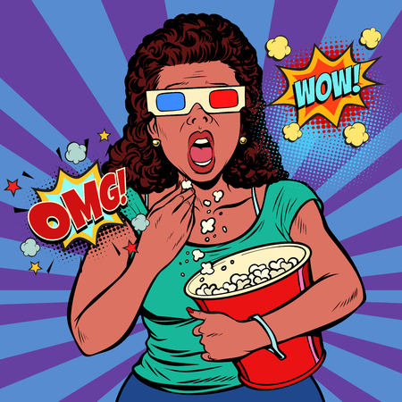 Woman in 3d glasses watching a scary movie and eating popcorn. Fast food in the cinema hall. Pop art retro vector illustration comic cartoon vintage kitsch