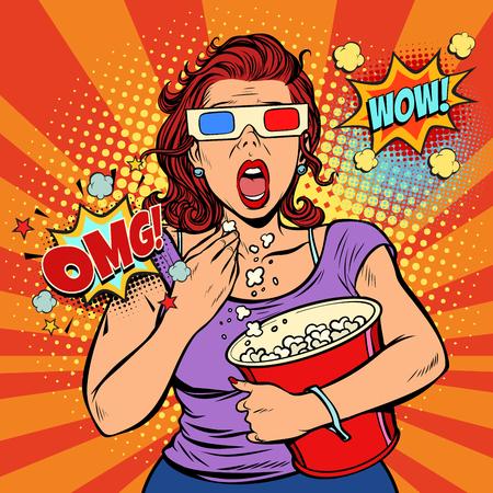 Mujer en gafas 3d viendo una película de miedo y comiendo palomitas de maíz. Comida rápida en la sala de cine. Pop art retro vector ilustración comic cartoon vintage kitsch