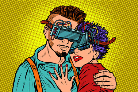 couple in love with virtual reality glasses. Pop art retro vector illustration comic cartoon vintage kitsch Vectores