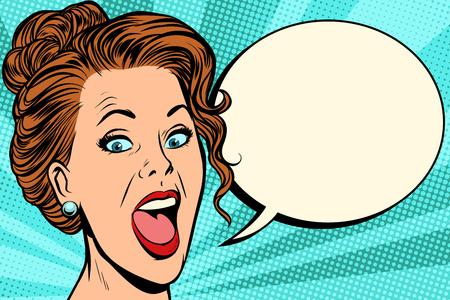 woman says comic bubble. Pop art retro vector illustration cartoon vintage kitsch