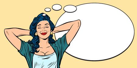 Woman dreams, comic bubble background Illustration