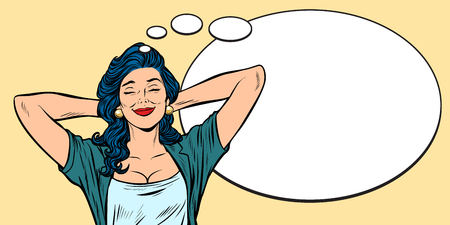 Woman dreams, comic bubble background  イラスト・ベクター素材