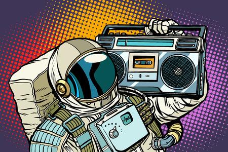 Astronauta con Boombox, audio y música.