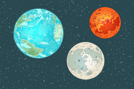 Mars, earth and moon, planets of the solar system Illustration