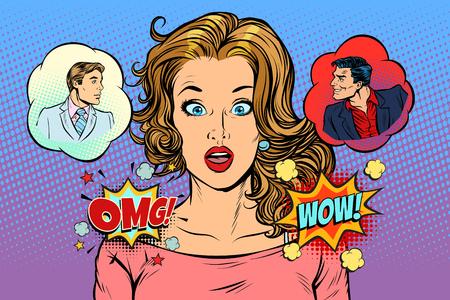 Kobieta anioł i demon wybory. Pop art retro wektor ilustracja komiks kreskówka vintage kicz rysunek