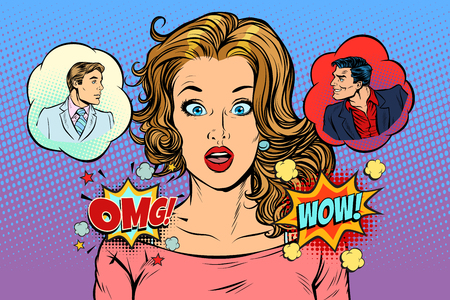 Woman angel and demon choices. Pop art retro vector illustration comic cartoon vintage kitsch drawing Illustration