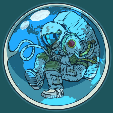 Newborn astronaut and planet earth. Humanity nature environment