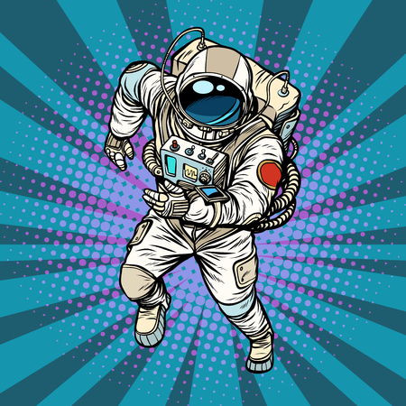 astronaut runs, the hero of space Banque d'images - 97314397