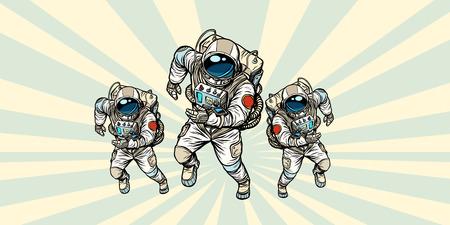 Astronauts team. Pop art retro vector illustration comic cartoon vintage kitsch drawing