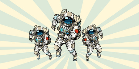 Astronauts team. Pop art retro vector illustration comic cartoon vintage kitsch drawing