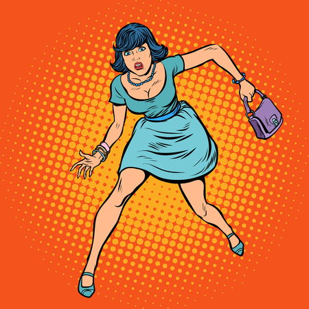 Beautiful woman with a bag running. Pop art retro vector illustration comic cartoon vintage kitsch drawing