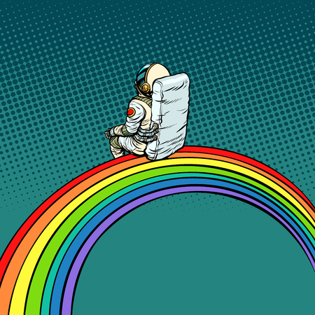 astronaut sits on a rainbow. Pop art retro vector illustration comic cartoon vintage kitsch drawing Stock Photo