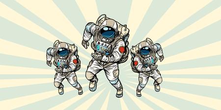 astronauts heroic team. Pop art retro vector illustration comic cartoon vintage kitsch drawing