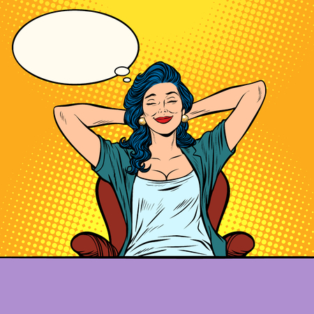 woman dreams, beautiful girl. Pop art retro vector illustration comic cartoon vintage kitsch drawing  イラスト・ベクター素材
