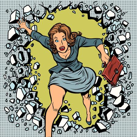 Beautiful woman broke through the wall. Pop art retro vector illustration comic cartoon vintage kitsch drawing