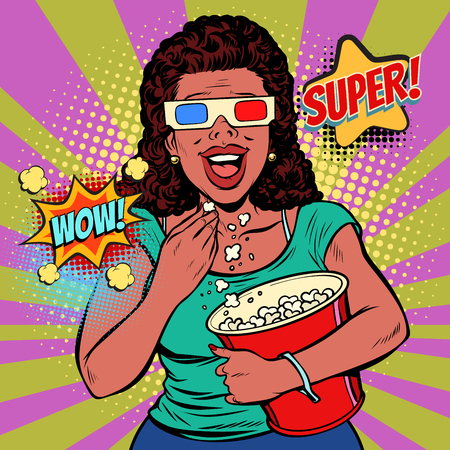 woman in 3D glasses watching a movie, smiling and eating popcorn. Fast food in the cinema hall. Pop art retro vector illustration comic cartoon vintage kitsch Illustration