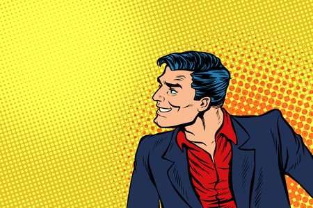 man in red shirt and suit. Pop art retro vector illustration comic cartoon vintage kitsch drawing
