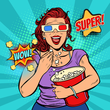 woman in 3D glasses watching a movie, smiling and eating popcorn. Fast food in the cinema hall. Pop art retro vector illustration comic cartoon vintage kitsch Иллюстрация