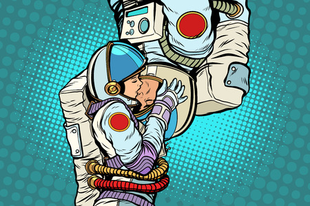 Kiss love couple male and female astronauts Vector illustration.