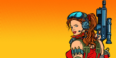 futuristic woman with guns close-up Vector illustration. Stock Illustratie