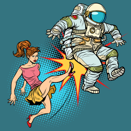 The woman kicks an astronaut family quarrel. Pop art retro vector illustration comic cartoon kitsch drawing.