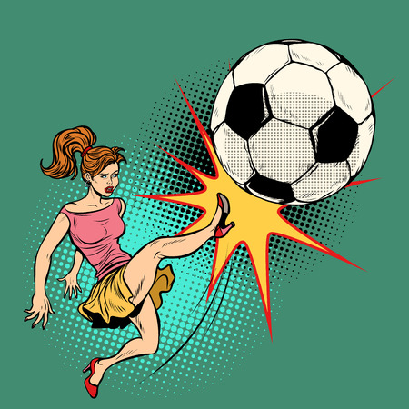 woman hits a soccer ball, football championship Vector illustration. Çizim